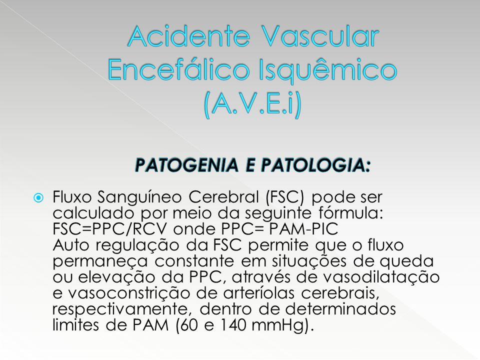  Quando uma artéria cerebral é ocluída ou subocluída – isquemia – observa-se disfunção neuronal quando FSC<20 ml/100g/min.