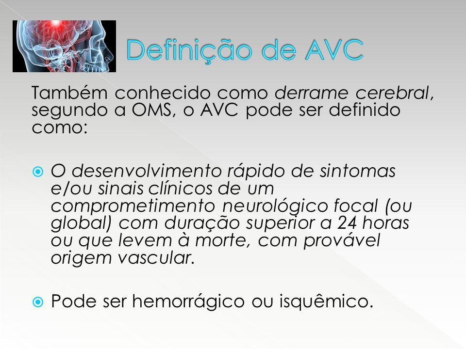Também conhecido como derrame cerebral, segundo a OMS, o AVC pode ser definido como:  O desenvolvimento rápido de sintomas e/ou sinais clínicos de um