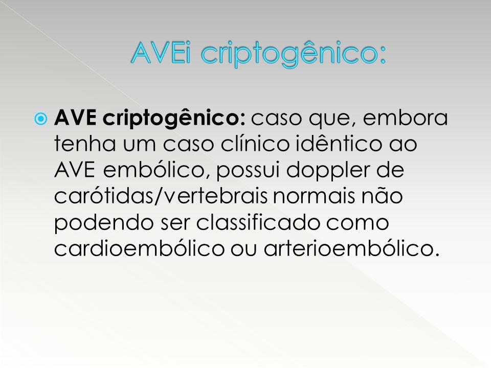 AVE criptogênico: caso que, embora tenha um caso clínico idêntico ao AVE embólico, possui doppler de carótidas/vertebrais normais não podendo ser cl