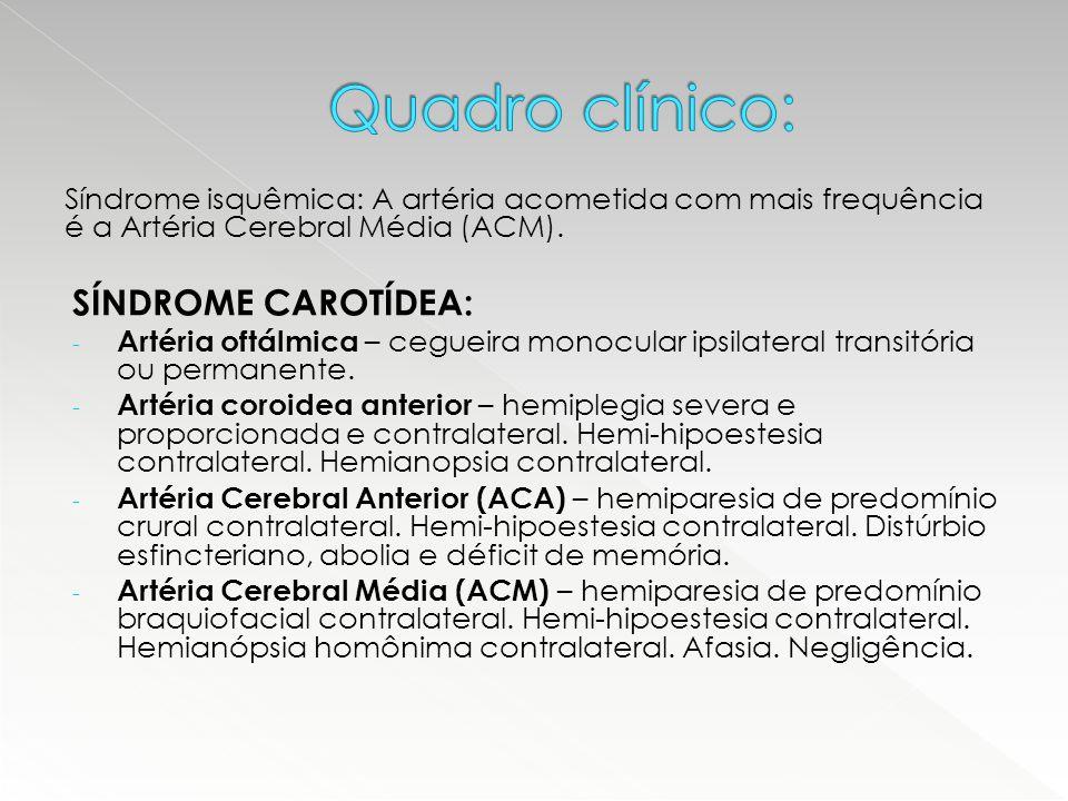 Síndrome isquêmica: A artéria acometida com mais frequência é a Artéria Cerebral Média (ACM). SÍNDROME CAROTÍDEA: - Artéria oftálmica – cegueira monoc