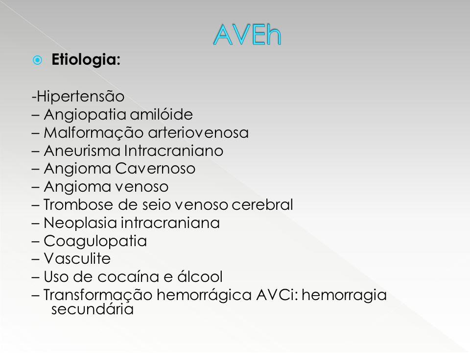  Etiologia: -Hipertensão – Angiopatia amilóide – Malformação arteriovenosa – Aneurisma Intracraniano – Angioma Cavernoso – Angioma venoso – Trombose