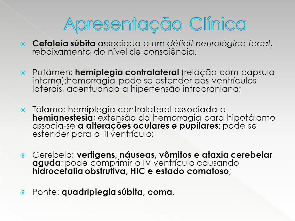  Cefaleia súbita associada a um déficit neurológico focal, rebaixamento do nível de consciência.  Putâmen: hemiplegia contralateral (relação com cap