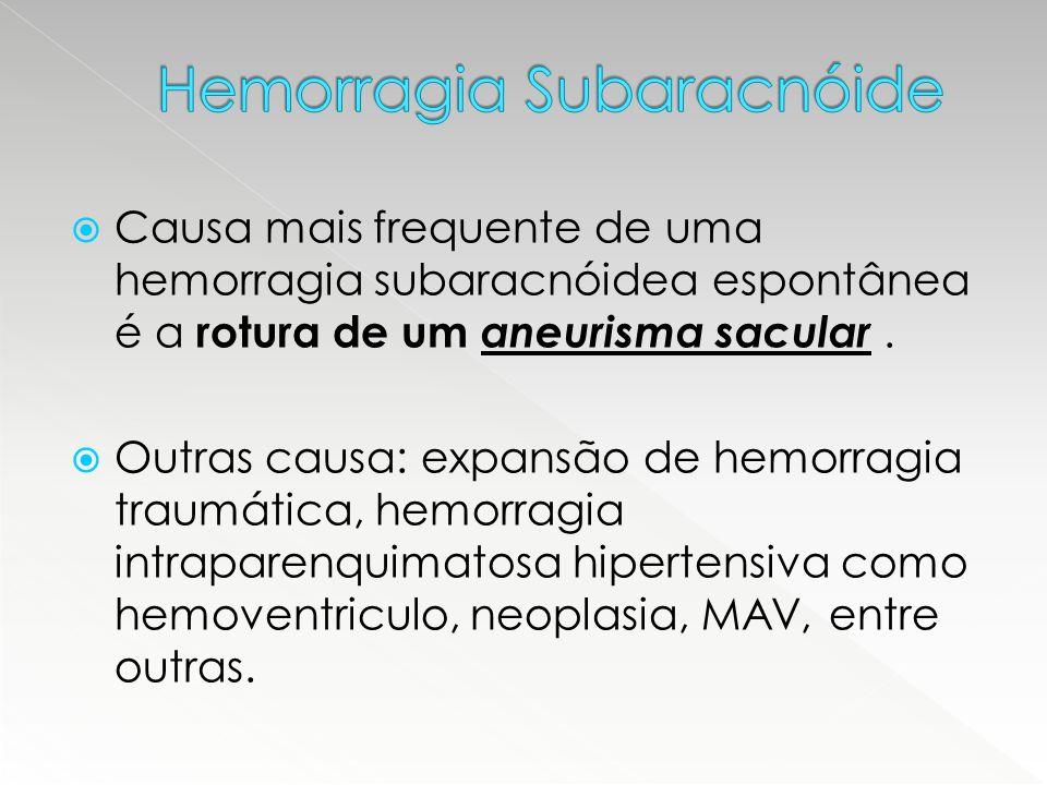  Causa mais frequente de uma hemorragia subaracnóidea espontânea é a rotura de um aneurisma sacular.  Outras causa: expansão de hemorragia traumátic