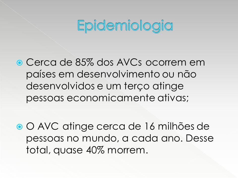  85% dos AVCs são isquêmicos e 15%, hemorrágicos;  A mortalidade nos primeiros 30 dias após AVCi é de aproximadamente 10% (seqüelas neurológicas), podendo chegar a 40% ao final do primeiro ano.