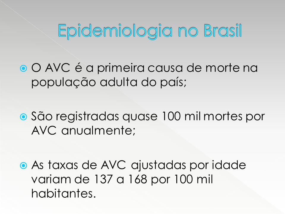  O AVC é a primeira causa de morte na população adulta do país;  São registradas quase 100 mil mortes por AVC anualmente;  As taxas de AVC ajustada