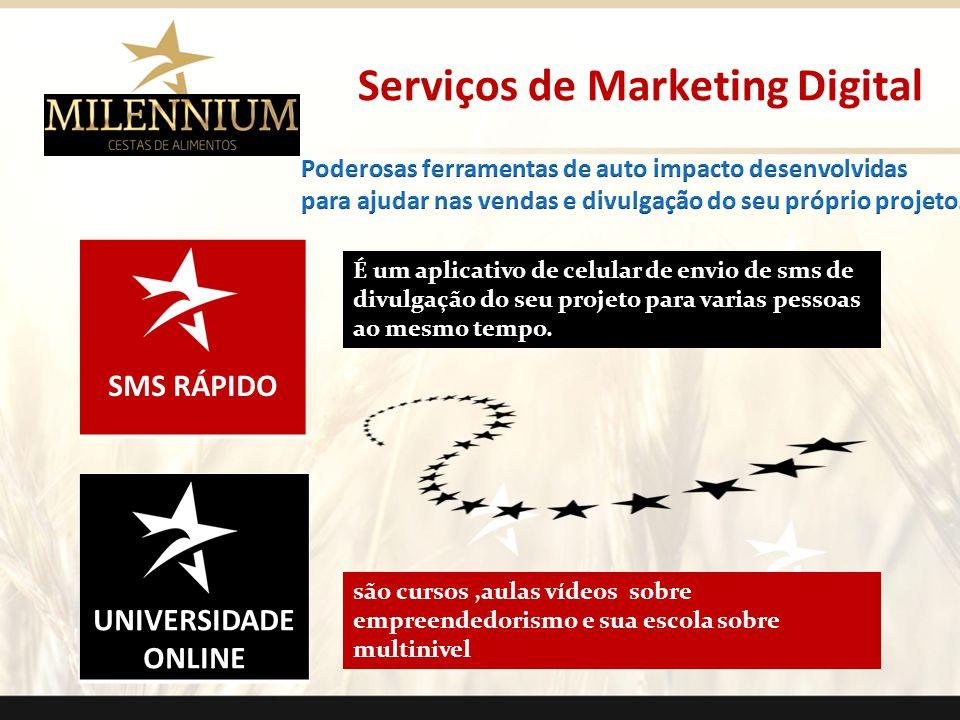 UNIVERSIDADE ONLINE SMS RÁPIDO Serviços de Marketing Digital É um aplicativo de celular de envio de sms de divulgação do seu projeto para varias pesso