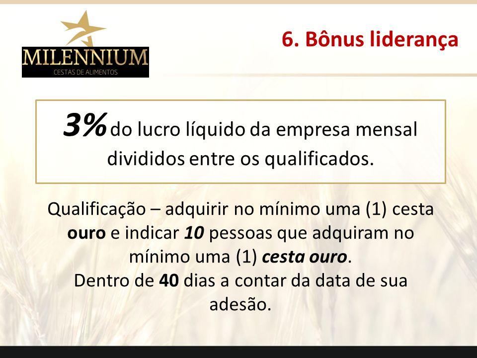 3% do lucro líquido da empresa mensal divididos entre os qualificados. Qualificação – adquirir no mínimo uma (1) cesta ouro e indicar 10 pessoas que a