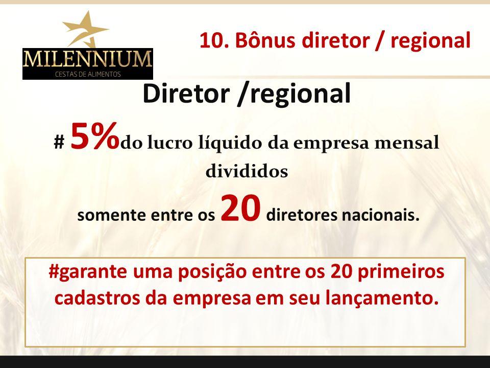 Diretor /regional # 5% do lucro líquido da empresa mensal divididos somente entre os 20 diretores nacionais. #garante uma posição entre os 20 primeiro