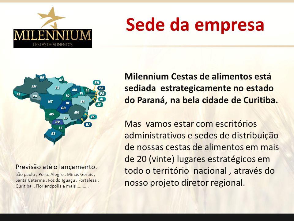 Sede da empresa Milennium Cestas de alimentos está sediada estrategicamente no estado do Paraná, na bela cidade de Curitiba. Mas vamos estar com escri