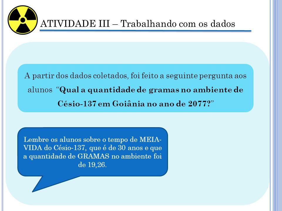 ATIVIDADE III – Trabalhando com os dados A partir dos dados coletados, foi feito a seguinte pergunta aos alunos Qual a quantidade de gramas no ambiente de Césio-137 em Goiânia no ano de 2077.