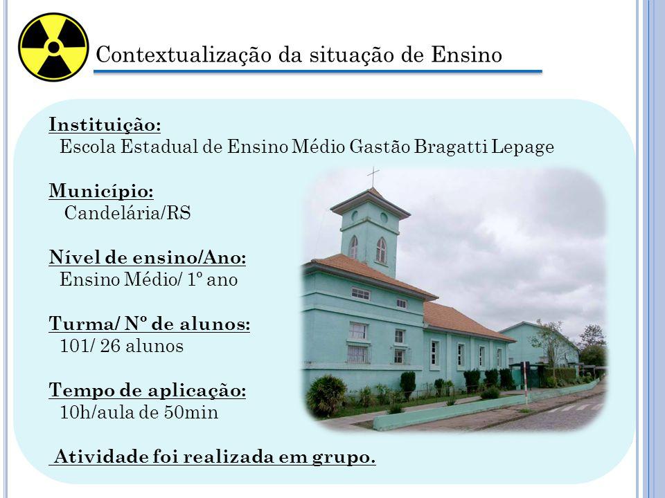 Contextualização da situação de Ensino Instituição: Escola Estadual de Ensino Médio Gastão Bragatti Lepage Município: Candelária/RS Nível de ensino/An