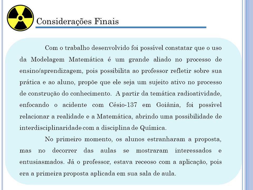 Considerações Finais Com o trabalho desenvolvido foi possível constatar que o uso da Modelagem Matemática é um grande aliado no processo de ensino/apr
