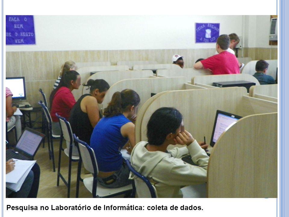 Registro de pesquisa de um dos alunos: dados coletados.