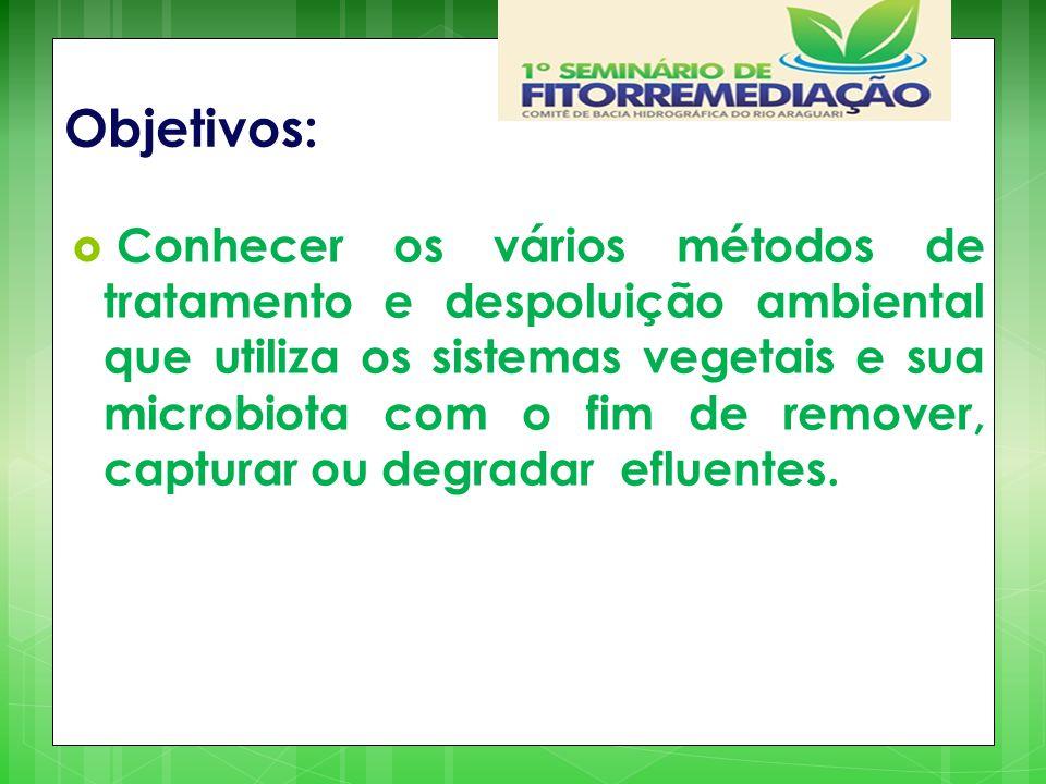 Objetivos:  Conhecer os vários métodos de tratamento e despoluição ambiental que utiliza os sistemas vegetais e sua microbiota com o fim de remover,