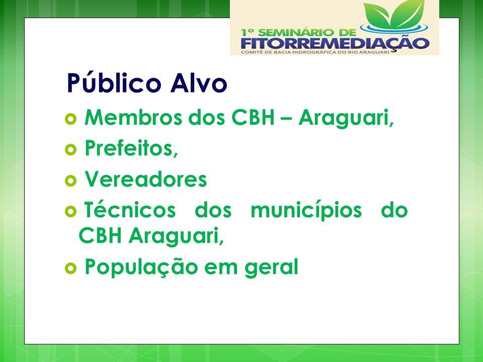 Público Alvo  Membros dos CBH – Araguari,  Prefeitos,  Vereadores  Técnicos dos municípios do CBH Araguari,  População em geral