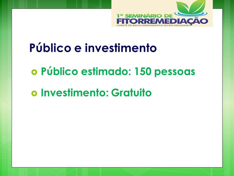 Público e investimento  Público estimado: 150 pessoas  Investimento: Gratuito