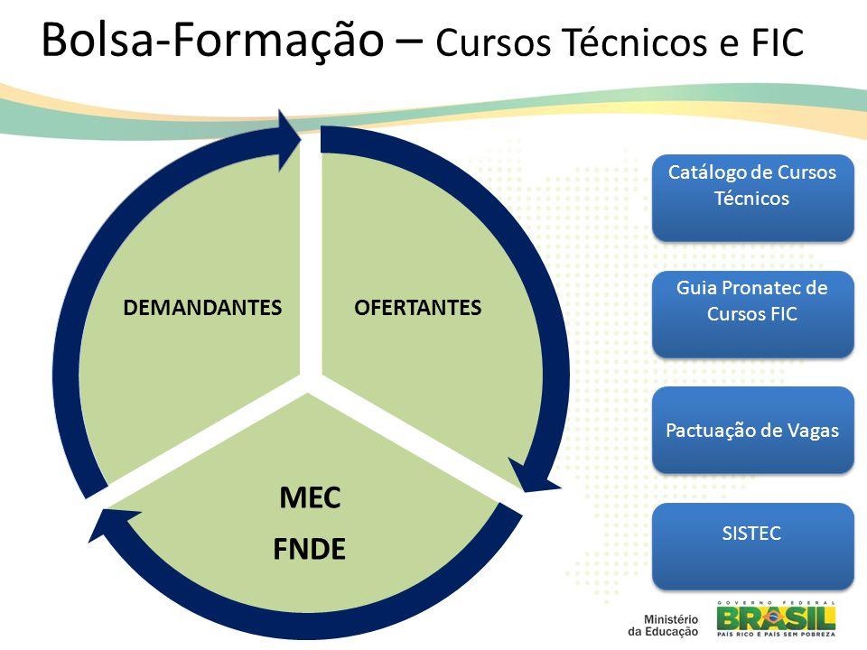 OFERTANTES MEC FNDE DEMANDANTES Bolsa-Formação – Cursos Técnicos e FIC Catálogo de Cursos Técnicos Guia Pronatec de Cursos FIC Pactuação de Vagas SISTEC