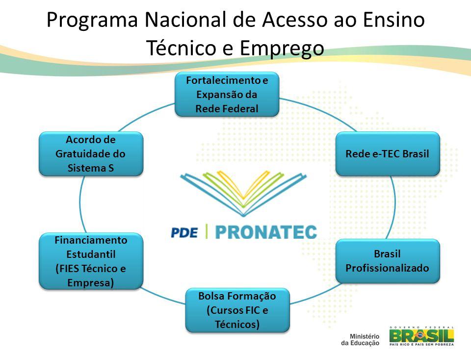 Brasil Profissionalizado Rede e-TEC Brasil Financiamento Estudantil (FIES Técnico e Empresa) Financiamento Estudantil (FIES Técnico e Empresa) Bolsa Formação (Cursos FIC e Técnicos) Fortalecimento e Expansão da Rede Federal Acordo de Gratuidade do Sistema S Programa Nacional de Acesso ao Ensino Técnico e Emprego