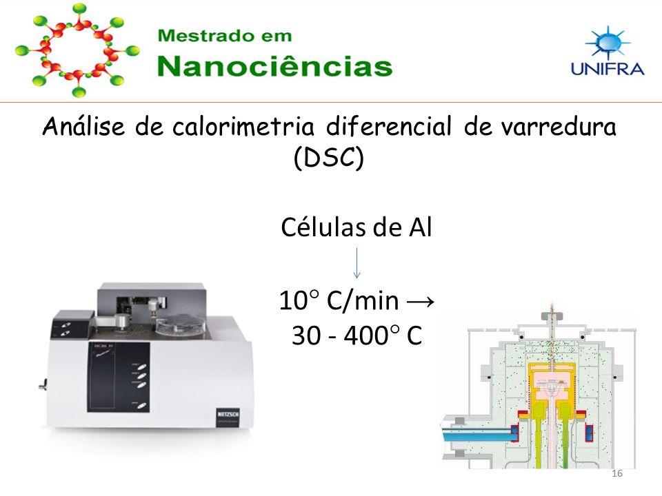 16 Análise de calorimetria diferencial de varredura (DSC) Células de Al 10 ° C/min → 30 - 400 ° C