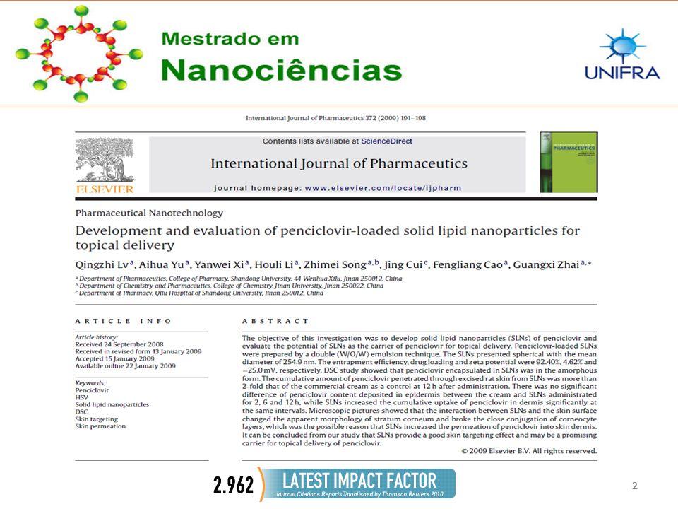 33 CONCLUSÃO  SLNs de Penciclovir penetrou na pele de ratos 2 X mais que o creme comercial, com um controle de 12 após a administração.