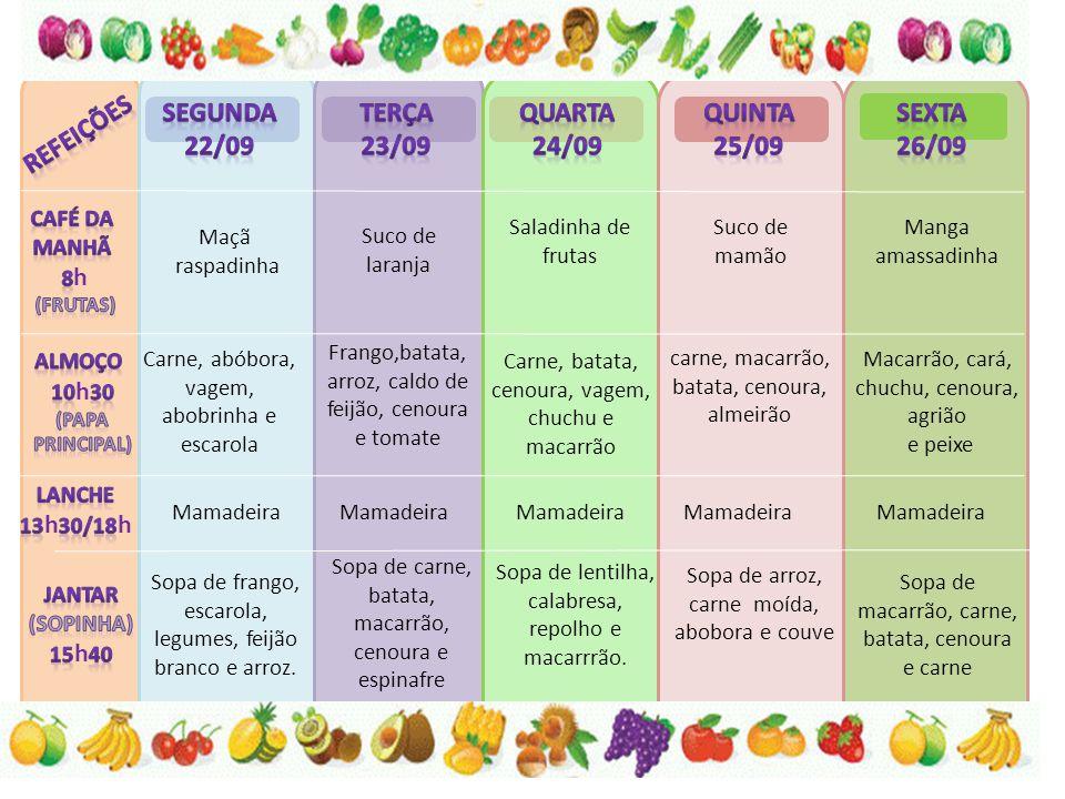 Goiaba amassadinha Suco de laranja com acerola Mamão amassadinho Suco de abacaxi Maça raspadinha Batata, Couve flor, chuchu, maçarão lentilha e frango Batata doce, chuchu, espinafre e ovos inhame, cenoura, abobrinha, caldo de feijão e carne Abóbora, repolho, chuchu e carne Batata, abobrinha, cenoura, mandioquinha e carne Mamadeira Sopa de grão de bico, carne, arroz, cenoura e carne Sopa de batata, cenoura, lentilha e carne Sopa de frango, cenoura, chuchu e milho Sopa de macarrão, brócolis, tomate e frango Sopa de fubá, musculo e couve