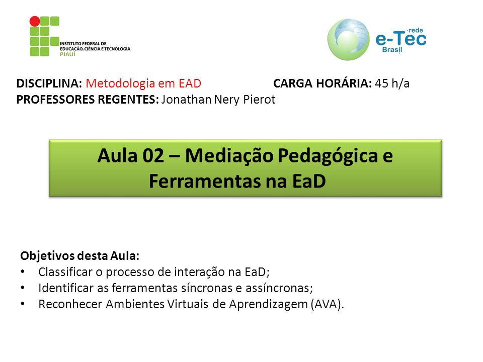 DISCIPLINA: Metodologia em EAD CARGA HORÁRIA: 45 h/a PROFESSORES REGENTES: Jonathan Nery Pierot Aula 02 – Mediação Pedagógica e Ferramentas na EaD Obj