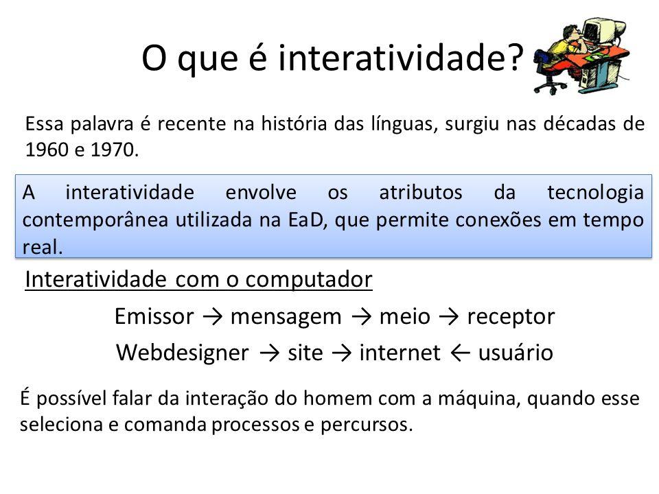 O que é interatividade? Essa palavra é recente na história das línguas, surgiu nas décadas de 1960 e 1970. A interatividade envolve os atributos da te