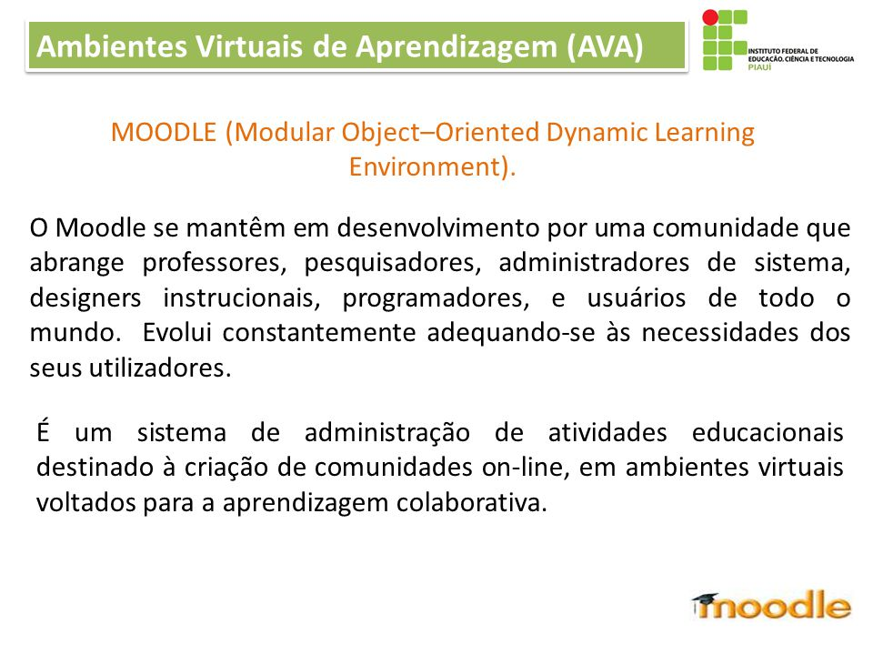 MOODLE (Modular Object–Oriented Dynamic Learning Environment).
