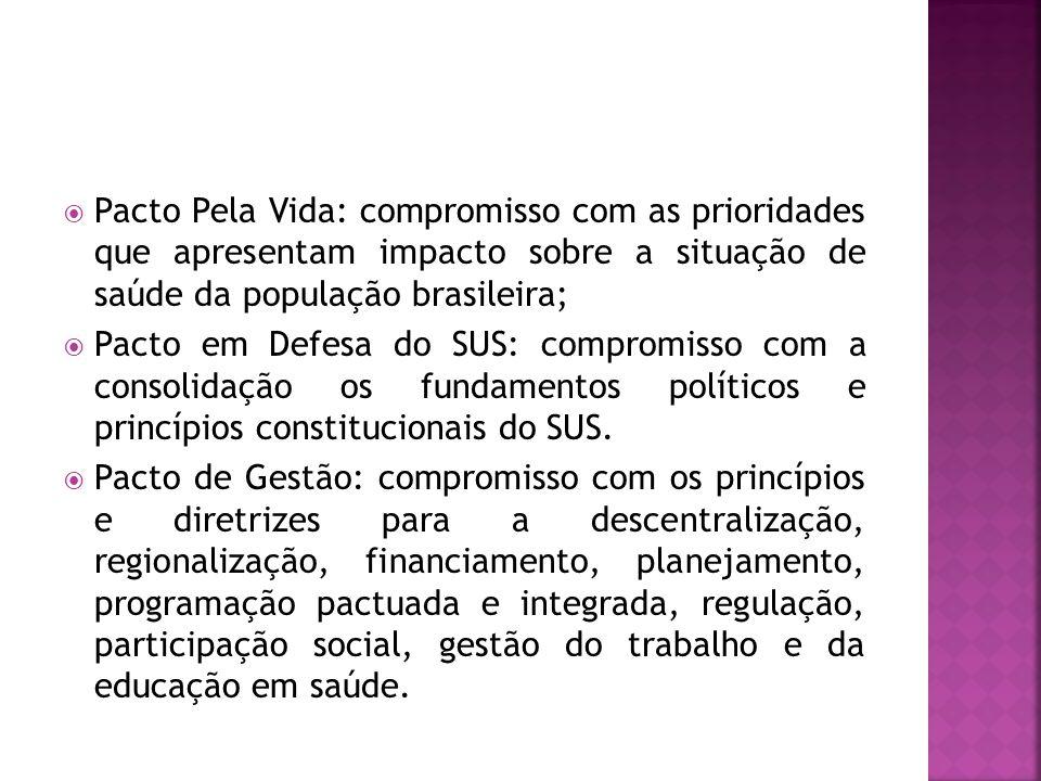  Pacto Pela Vida: compromisso com as prioridades que apresentam impacto sobre a situação de saúde da população brasileira;  Pacto em Defesa do SUS: compromisso com a consolidação os fundamentos políticos e princípios constitucionais do SUS.