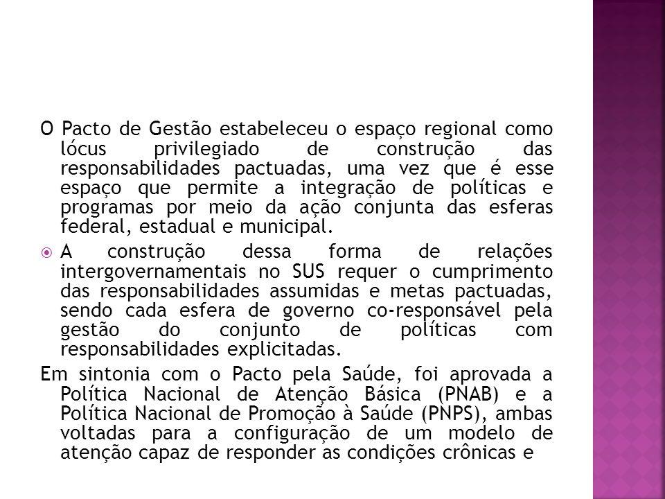 O Pacto de Gestão estabeleceu o espaço regional como lócus privilegiado de construção das responsabilidades pactuadas, uma vez que é esse espaço que permite a integração de políticas e programas por meio da ação conjunta das esferas federal, estadual e municipal.