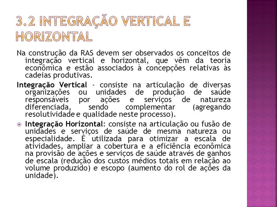 Na construção da RAS devem ser observados os conceitos de integração vertical e horizontal, que vêm da teoria econômica e estão associados à concepções relativas às cadeias produtivas.
