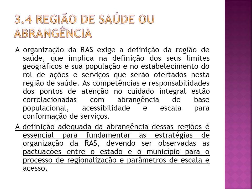 A organização da RAS exige a definição da região de saúde, que implica na definição dos seus limites geográficos e sua população e no estabelecimento do rol de ações e serviços que serão ofertados nesta região de saúde.