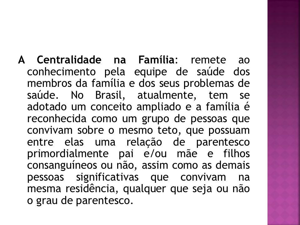 A Centralidade na Família: remete ao conhecimento pela equipe de saúde dos membros da família e dos seus problemas de saúde.