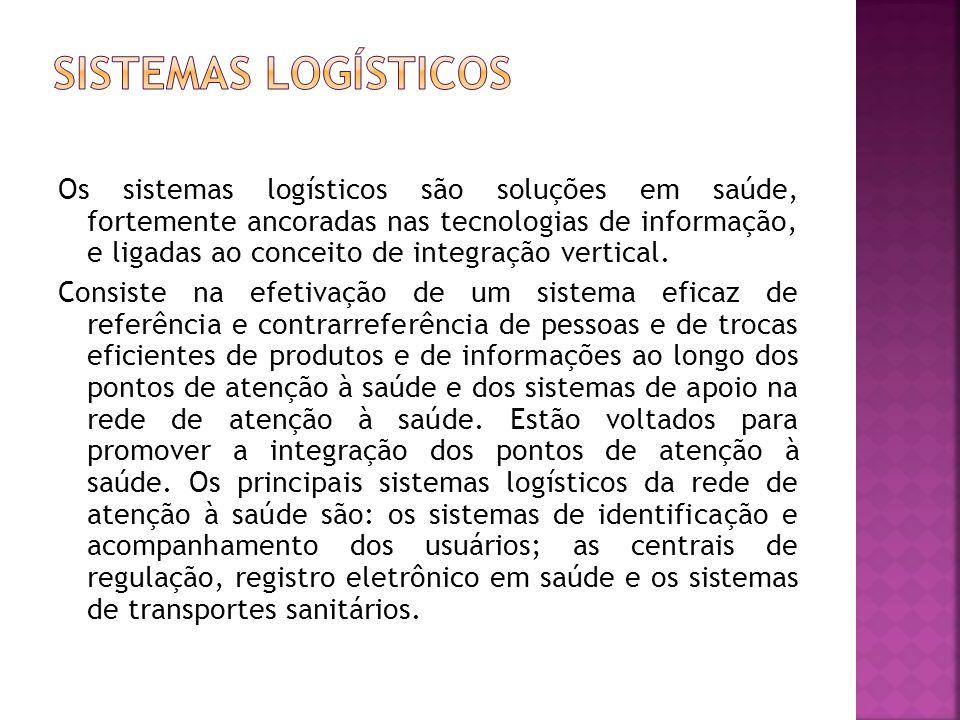 Os sistemas logísticos são soluções em saúde, fortemente ancoradas nas tecnologias de informação, e ligadas ao conceito de integração vertical.