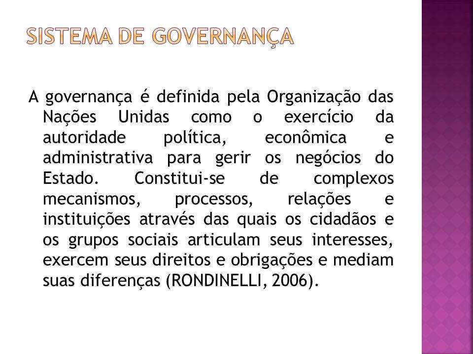 A governança é definida pela Organização das Nações Unidas como o exercício da autoridade política, econômica e administrativa para gerir os negócios do Estado.