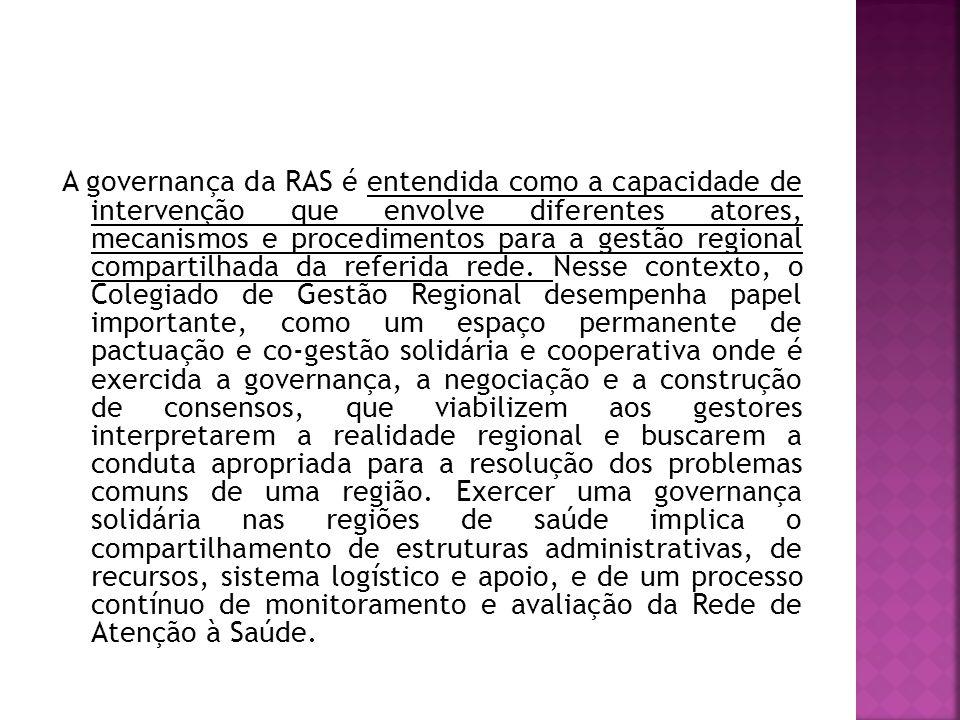 A governança da RAS é entendida como a capacidade de intervenção que envolve diferentes atores, mecanismos e procedimentos para a gestão regional compartilhada da referida rede.