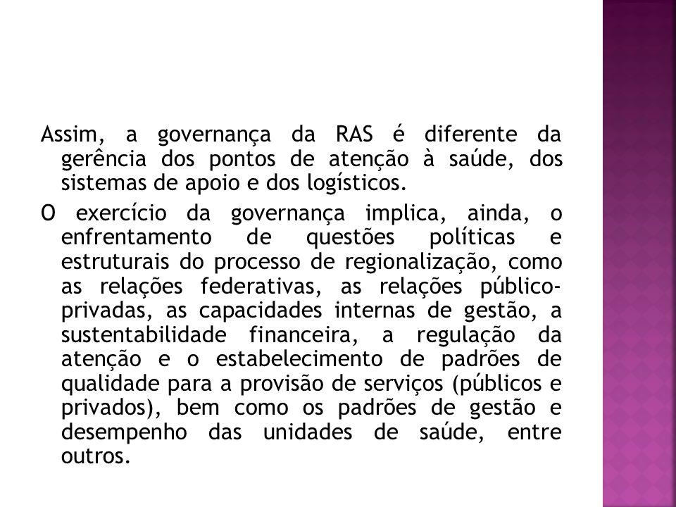 Assim, a governança da RAS é diferente da gerência dos pontos de atenção à saúde, dos sistemas de apoio e dos logísticos.