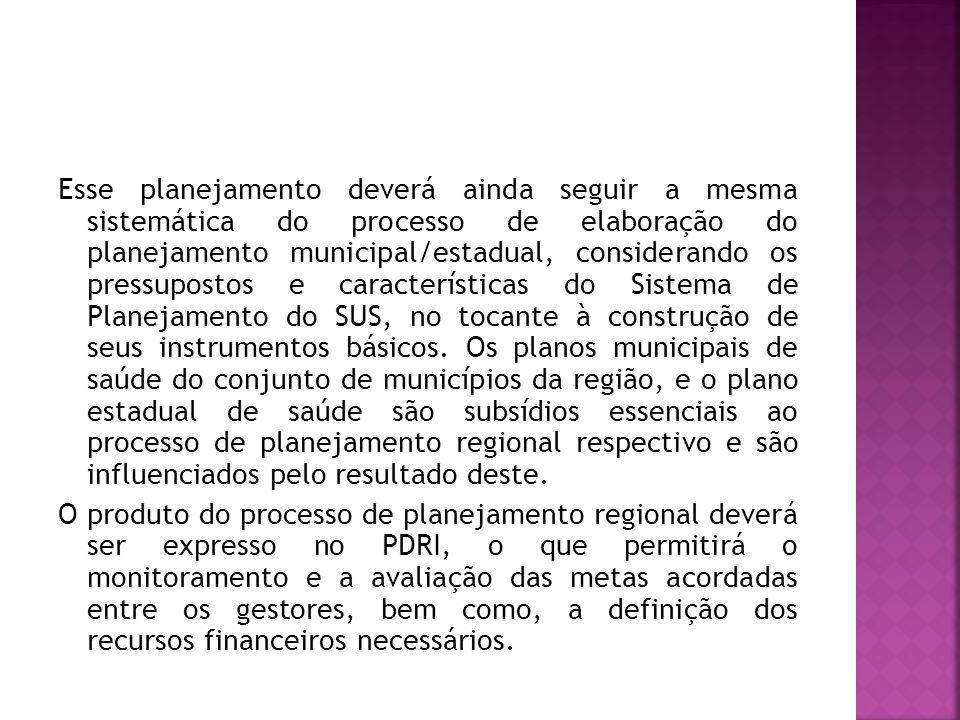 Esse planejamento deverá ainda seguir a mesma sistemática do processo de elaboração do planejamento municipal/estadual, considerando os pressupostos e características do Sistema de Planejamento do SUS, no tocante à construção de seus instrumentos básicos.