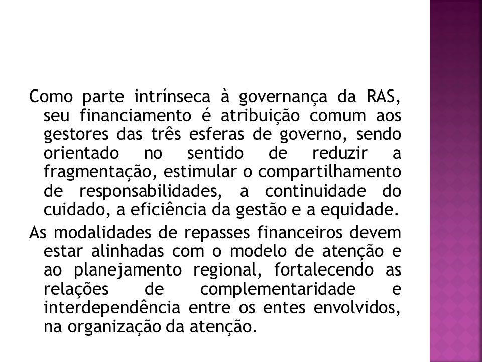 Como parte intrínseca à governança da RAS, seu financiamento é atribuição comum aos gestores das três esferas de governo, sendo orientado no sentido de reduzir a fragmentação, estimular o compartilhamento de responsabilidades, a continuidade do cuidado, a eficiência da gestão e a equidade.