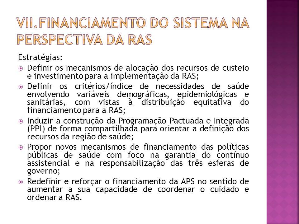 Estratégias:  Definir os mecanismos de alocação dos recursos de custeio e investimento para a implementação da RAS;  Definir os critérios/índice de necessidades de saúde envolvendo variáveis demográficas, epidemiológicas e sanitárias, com vistas à distribuição equitativa do financiamento para a RAS;  Induzir a construção da Programação Pactuada e Integrada (PPI) de forma compartilhada para orientar a definição dos recursos da região de saúde;  Propor novos mecanismos de financiamento das políticas públicas de saúde com foco na garantia do contínuo assistencial e na responsabilização das três esferas de governo;  Redefinir e reforçar o financiamento da APS no sentido de aumentar a sua capacidade de coordenar o cuidado e ordenar a RAS.