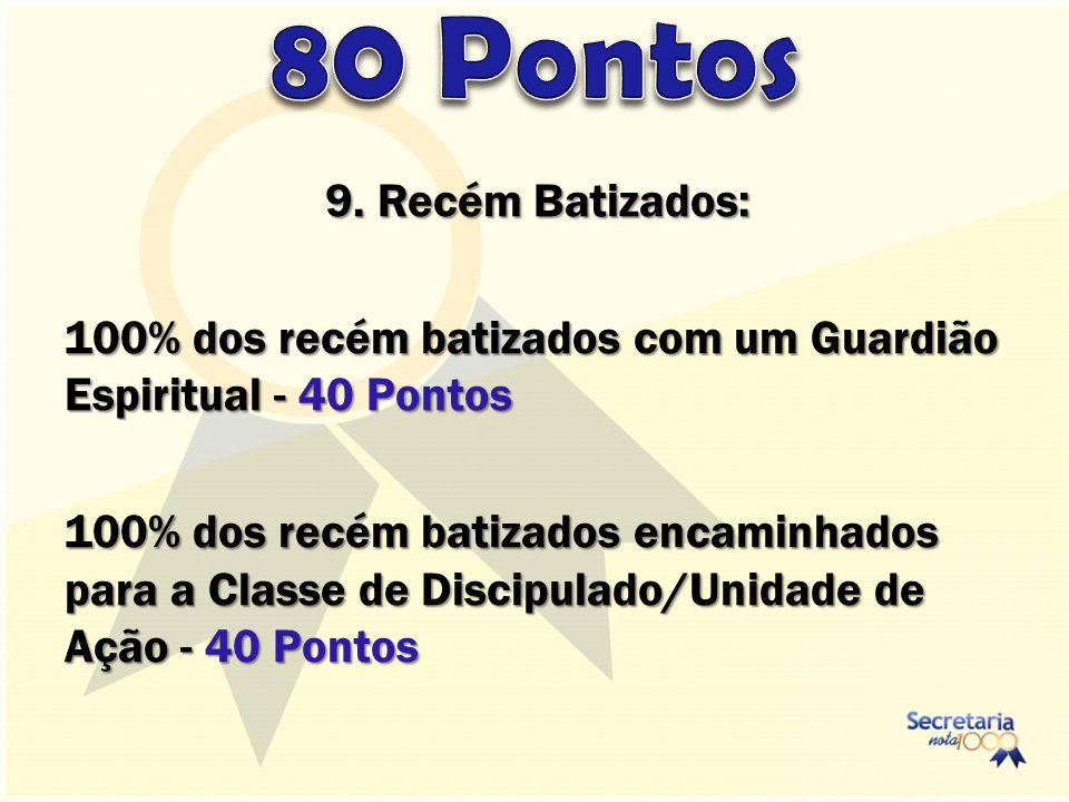 9. Recém Batizados: 100% dos recém batizados com um Guardião Espiritual - 40 Pontos 100% dos recém batizados encaminhados para a Classe de Discipulado