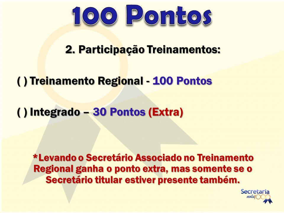 2. Participação Treinamentos: ( ) Treinamento Regional - 100 Pontos ( ) Integrado – 30 Pontos (Extra) *Levando o Secretário Associado no Treinamento R