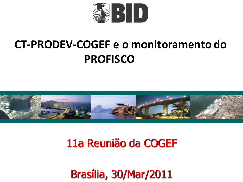 11a Reunião da COGEF Brasília, 30/Mar/2011 CT-PRODEV-COGEF e o monitoramento do PROFISCO