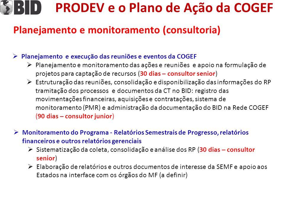 PRODEV e o Plano de Ação da COGEF Planejamento e monitoramento (consultoria)  Monitoramento do Programa - Relatórios Semestrais de Progresso, relatór