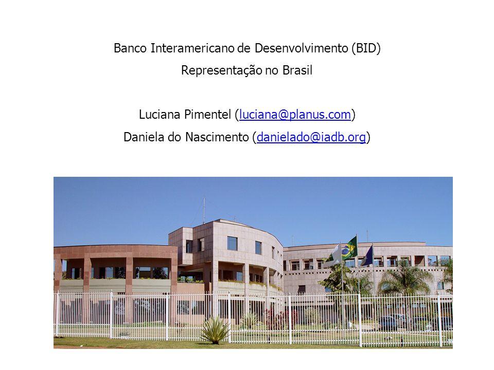 Banco Interamericano de Desenvolvimento (BID) Representação no Brasil Luciana Pimentel (luciana@planus.com)luciana@planus.com Daniela do Nascimento (danielado@iadb.org)danielado@iadb.org