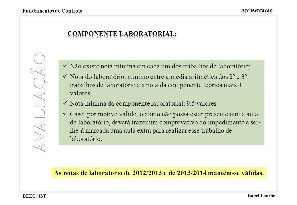 DEEC / IST Isabel Lourtie Fundamentos de Controlo Apresentação Não existe nota mínima em cada um dos trabalhos de laboratório; Nota do laboratório: mí