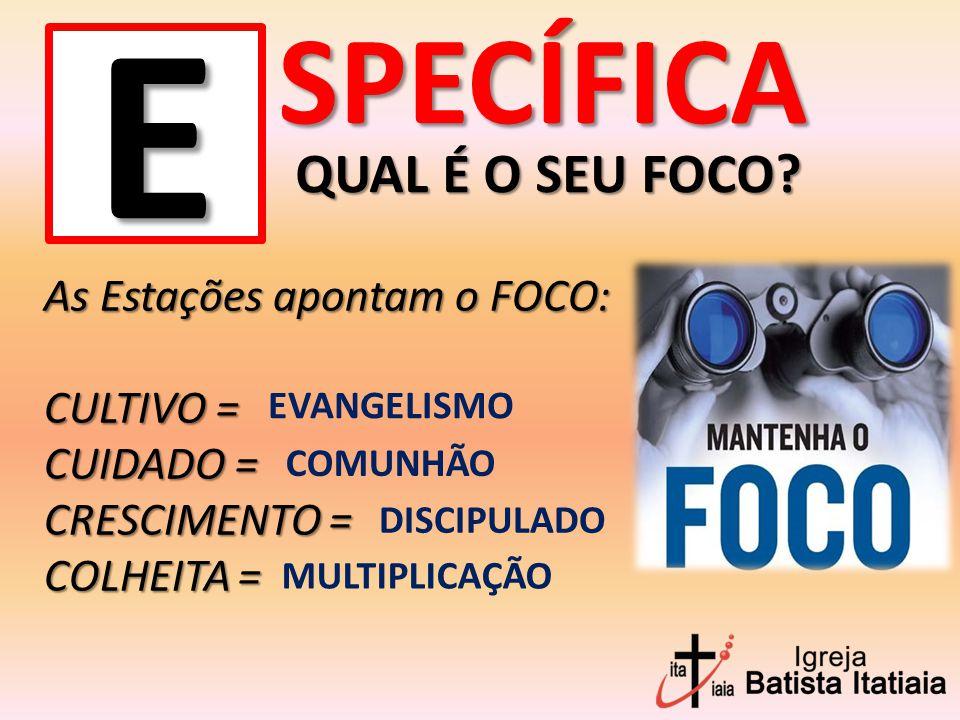 SPECÍFICA E As Estações apontam o FOCO: CULTIVO = CUIDADO = CRESCIMENTO = COLHEITA = EVANGELISMO COMUNHÃO DISCIPULADO MULTIPLICAÇÃO