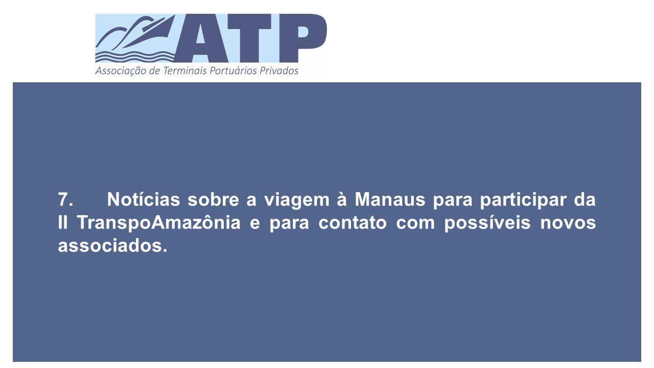 7.Notícias sobre a viagem à Manaus para participar da II TranspoAmazônia e para contato com possíveis novos associados.