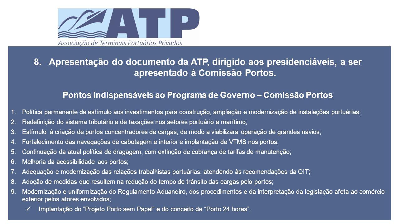 8.Apresentação do documento da ATP, dirigido aos presidenciáveis, a ser apresentado à Comissão Portos.