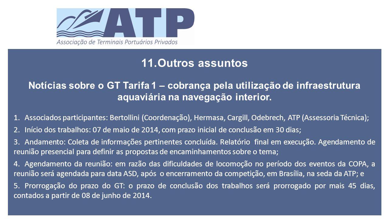 11.Outros assuntos Notícias sobre o GT Tarifa 1 – cobrança pela utilização de infraestrutura aquaviária na navegação interior.